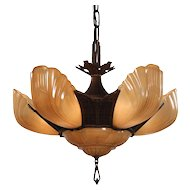 Antique Art Deco Slip Shade Chandelier by Markel