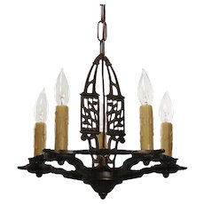 Neoclassical Chandelier in Cast Iron, Antique Lighting