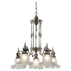 Neoclassical Silver Plate Chandelier, Antique Lighting