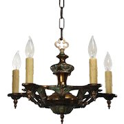Neoclassical Chandelier with Original Polychrome Finish, Antique Lighting
