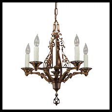 Spanish Revival Cast Bronze Chandelier, Antique Lighting