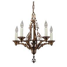 Spanish Revival Cast Bronze Chandelier, Antique Lighting