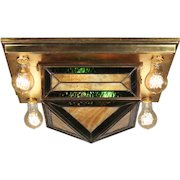 Arts & Crafts Stained Glass Flush Mount Fixture, Antique Lighting