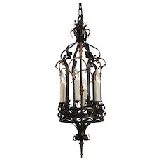 Tudor Lantern in Iron and Bronze, Antique Lighting