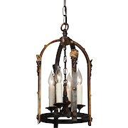 Tudor Lantern in Iron and Brass, Antique Lighting