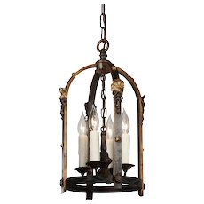 Tudor Lantern in Iron and Brass, Antique Lighting