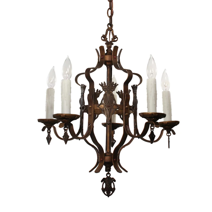 Antique Iron Spanish Revival Five Light Chandelier With Shields
