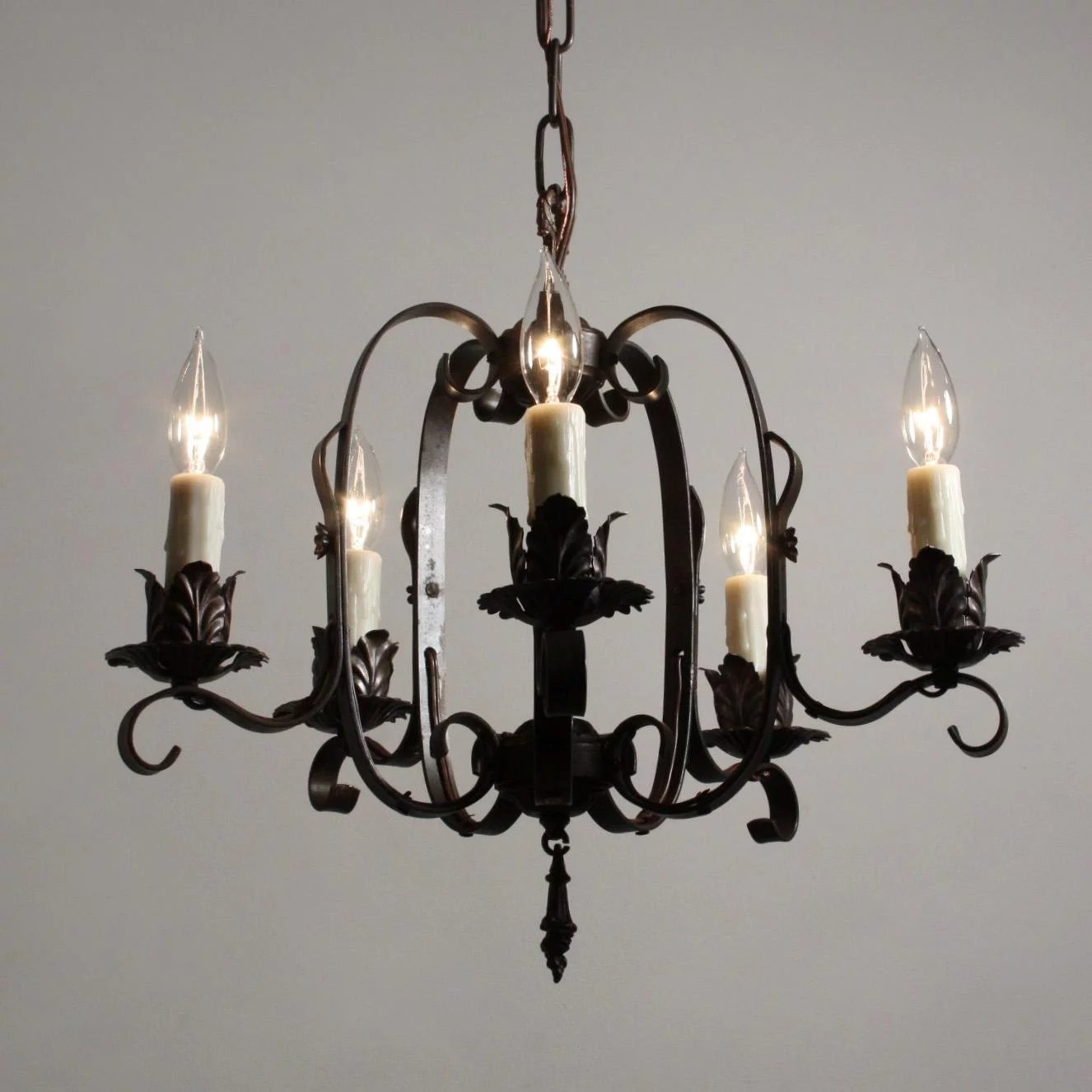 Tudor Wrought Iron Chandelier, Antique Lighting ...