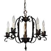 Tudor Wrought Iron Chandelier, Antique Lighting