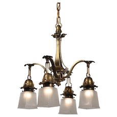 Arts & Crafts Brass Chandelier, Antique Lighting
