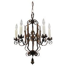 Antique Iron Chandelier with Original Polychrome