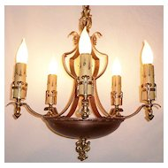 Extraordinary Five-Light Gold Plated and Copper Antique Chandelier