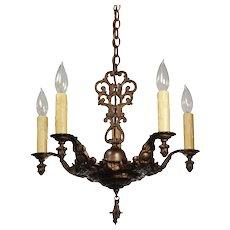 Neoclassical Five Light Chandelier, Antique Lighting