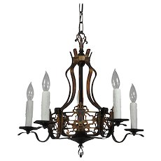 Spanish Revival Chandelier with Shields, Antique Lighting