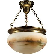 Antique Hand-Painted Inverted Dome Chandelier, Coastal Scene