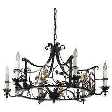 Spanish Revival Figural Chandelier with Lions, Antique Lighting