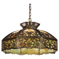 Antique Neoclassical Stained Glass Pendant Light, Early 1900s