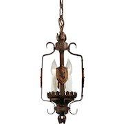 Spanish Revival Pendant Light in Iron, Antique Lighting