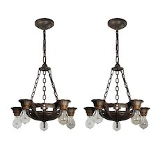Tudor Five-Light Chandeliers by Lincoln, Antique Lighting