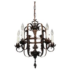 Antique Tudor Wrought Iron Chandelier, Early 1900s