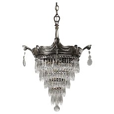 Antique Neoclassical Wedding Cake Chandelier, Early 1900s