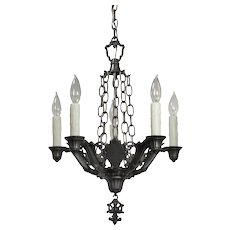Antique Five-Light Spanish Revival Chandelier, Riddle Co.