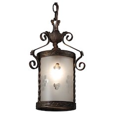 Antique Neoclassical Lantern Pendant, Hand-Cut Shade