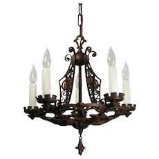 Spanish Revival Iron & Bronze Chandelier with Shields, Antique Lighting