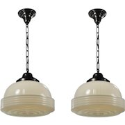 Antique Art Deco Pendant Lights with Glass Shades, 1930's