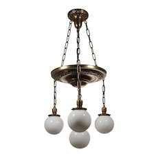Antique Colonial Revival Brass Chandelier, Ball Shades