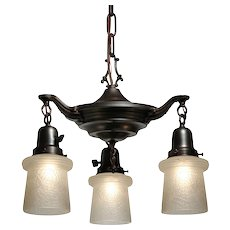 Neoclassical Chandelier with Glass Shades, Antique Lighting