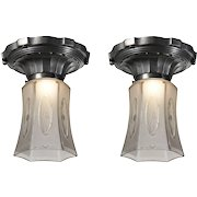 Antique Neoclassical Flush Mount Fixtures, Early 1900s