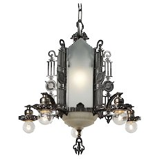 Art Deco Chandelier with Glass Panels, Antique Lighting