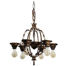 Neoclassical Chandelier with Ribbons, Antique Lighting