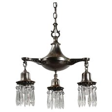 Neoclassical Silver Plated Chandelier with Prisms, Antique Lighting