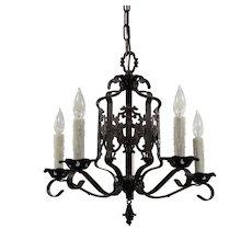 Spanish Revival Five-Light Chandelier with Fleur-De-Lis, Antique Lighting