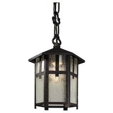 Arts & Crafts Exterior Lantern with Original Glass, Antique Lighting
