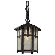 Arts & Crafts Exterior Lantern with Original Glass, Antique Lighting