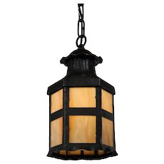 Antique Arts & Crafts Lantern in Iron, Early 1900s