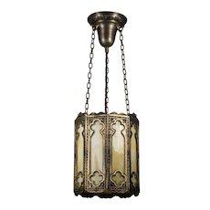 Antique Gothic Revival Pendant Light, Quatrefoils