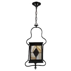 19th Century Stained Glass Lantern Gas Pendant, Antique Lighting