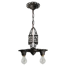 Antique Art Deco Two-Light Chandelier, Early 1900s