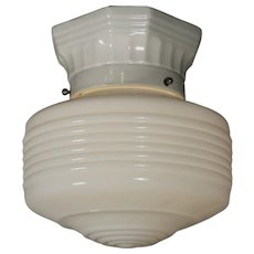 Schoolhouse Flush-Mount Light with Porcelain Fitter, Antique Lighting