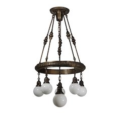 Neoclassical Chandelier with Globes, Antique Lighting