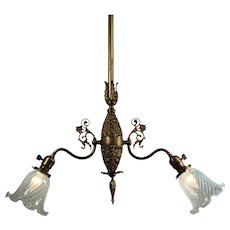 Neoclassical Two-Light Chandelier with Art Glass Shades, Antique Lighting