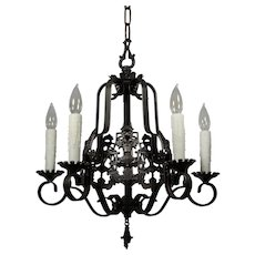Spanish Revival Figural Chandelier with Knights, Signed Markel