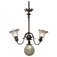 Neoclassical Three-Light Chandelier with Art Glass Shades, Antique Lighting
