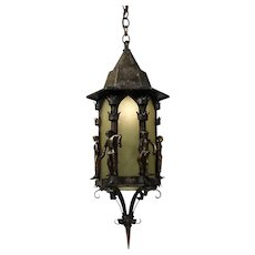 Figural Gothic Revival Lantern, Iron and Bronze