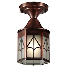 Vintage Flush Mount Lantern in Copper