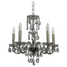 Antique Five-Light Glass Chandelier with Prisms
